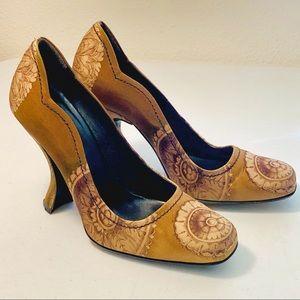 Prada Brown & Tan Satin High Heel Pumps 8.5